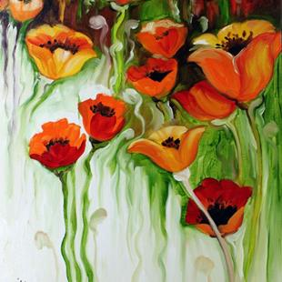 Art: POPPY FALLS ABSTRACT by Artist Marcia Baldwin
