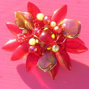 Art: 1210 red flower pin.jpg by Artist Alma Lee