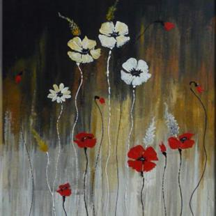 Art: ORIGINAL ABSTRACT PAINTING WITH FLOWERS - SOLD by Artist Nataera
