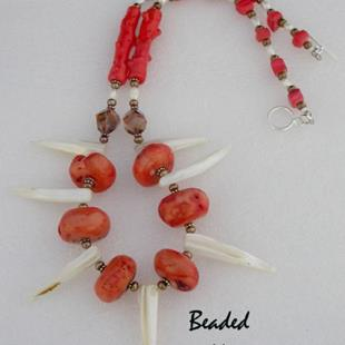 Art: Coral Tribal Shell Necklace by Artist Stephanie M. Daigle