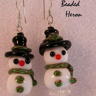Art: Snowman Couple Lampwork Earrings by Artist Stephanie M. Daigle