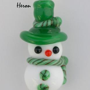 Art: Snowman in a Green Hat by Artist Stephanie M. Daigle