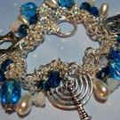 Art: Chanukah Altered Art Charm Bracelet OOAK by Artist Lisa  Wiktorek