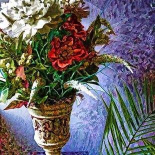 Art: Mixed Flowers with Vase in a Blue Room by Artist Carolyn Schiffhouer