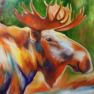 Art: MOOSE ~ commissioned Original Oil by Artist Marcia Baldwin