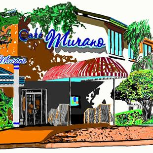 Art: Cafe at Uptown Altamonte by Artist Joan Hall Johnston