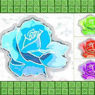 Art: Digital Rose Mosaic by Artist Joan Hall Johnston