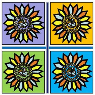 Art: Sunflower Mosaic #3 by Artist Joan Hall Johnston