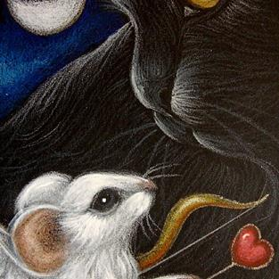 Art: VALENTINE CUPID ANGEL MOUSE & BLACK CAT by Artist Cyra R. Cancel
