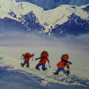 Art: Three Buddies (sold) by Artist Kathy Crawshay