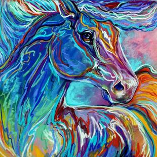 Art: PAINTED PONY ABSTRACT in PASTEL by Artist Marcia Baldwin