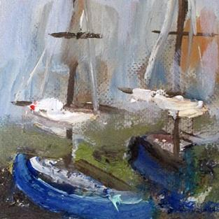 Art: Boats Aceo by Artist Delilah Smith