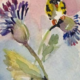 Art: Yellow Finch on Thistle by Artist Delilah Smith