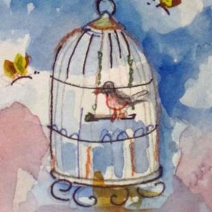 Art: Bird Cage by Artist Delilah Smith