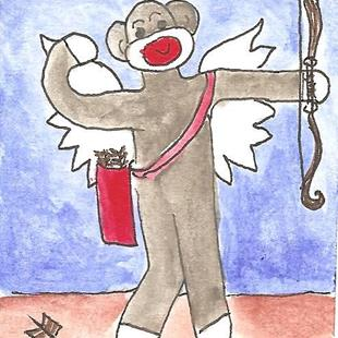 Art: Sock Monkey Plays Cupid by Artist Nancy Denommee