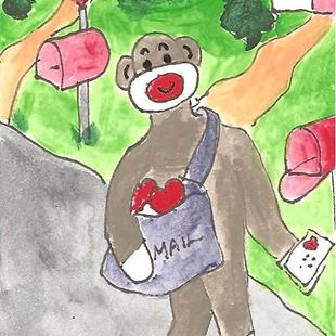 Art: Sock Monkey Delivers Valentine's Day Cards by Artist Nancy Denommee