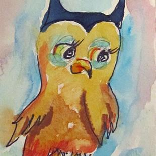 Art: Whimsical Old Owl Aceo by Artist Delilah Smith