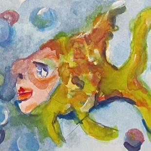 Art: Whimsical Fish Aceo by Artist Delilah Smith