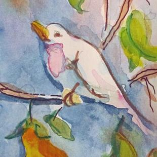 Art: Bird in Pear Tree Aceo by Artist Delilah Smith