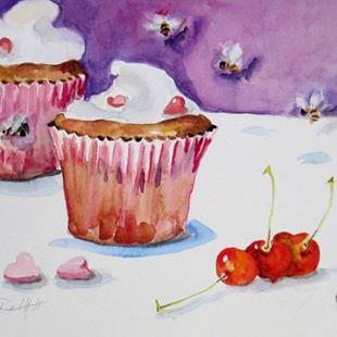 Art: Valentine Cupcakes and CHerries-sold by Artist Delilah Smith