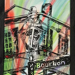 Art: Rue Bourbon Lamp Post by Artist Melanie Douthit