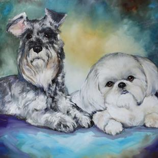 Art: TITUS and MAX Commissioned Pet Portrait by Artist Marcia Baldwin