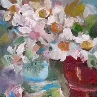 Art: Pots Spring Flowers by Artist Delilah Smith