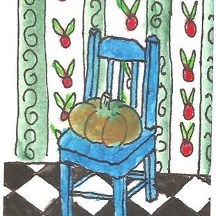 Art: Blue Ikea Chair with Squash by Artist Nancy Denommee