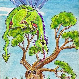 Art: Dragon Fairy Fly & the Wise Bonsai Tree SOLD by Artist Kim Loberg