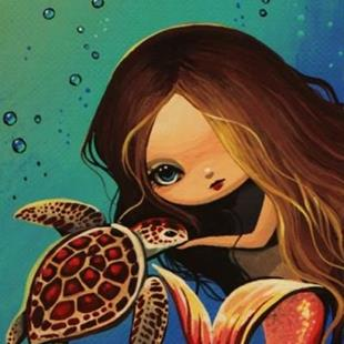 Art: Little Mermaid and Turtle by Artist Nico Niemi