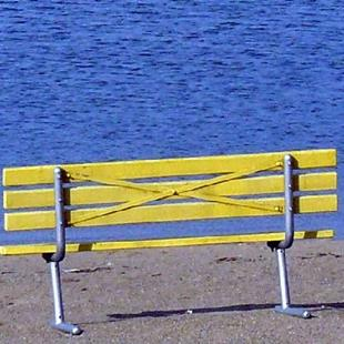 Art: yellow bench by Artist S. Olga Linville