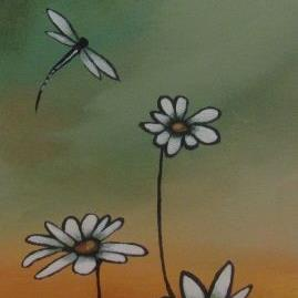 Art: Whimsical Daisies by Artist Christine E. S. Code ~CES~