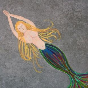 Art: Mermaid On Tile by Artist Sherry Key