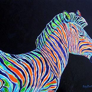 Art: Abstract Zebra ( sold ) by Artist Ulrike 'Ricky' Martin