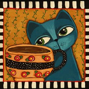 Art: Coffee Kitten by Artist Cindy Bontempo (GOSHRIN)