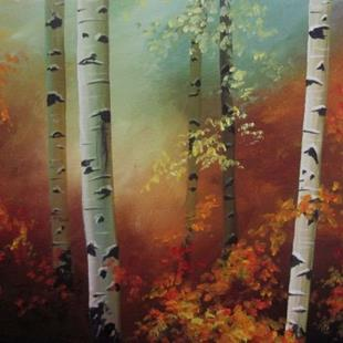 Art: Birch Bathed in Warm Light by Artist Christine E. S. Code ~CES~