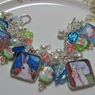 Art: Bunny Garden Altered Art Charm Bracelet by Artist Lisa  Wiktorek