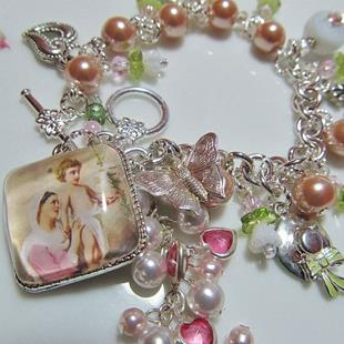 Art: Easter Lilies Altered Art Charm Bracelet ooak by Artist Lisa  Wiktorek