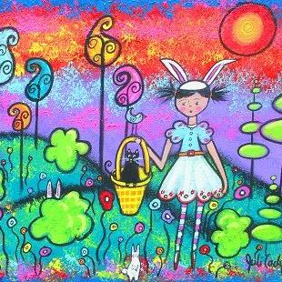 Art: Bunny Girl Arrives With Spring by Artist Juli Cady Ryan