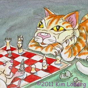 Art: Cat & Mouse Chess - SOLD by Artist Kim Loberg