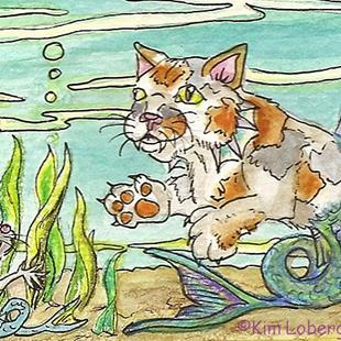 Art: I See You-Calico Cat & Mouse Fish by Artist Kim Loberg