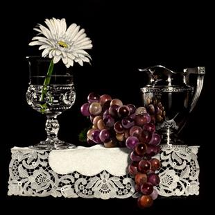 Art: Gerbera and Grapes by Artist Sandra Willard
