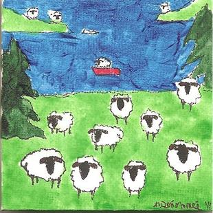 Art: Sheep at the Lake by Artist Nancy Denommee