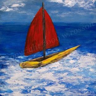 Art: Yellow Boat, Red Sails by Artist Windi Rosson