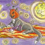 Art: Punkin-Head Cat & Batsy Riding the Comet by Artist Kim Loberg