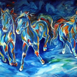 Art: ABSTRACT EQUINE BLUE RUN ~ SOLD by Artist Marcia Baldwin