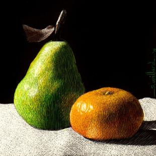 Art: Pear & Orange - Thumbnail by Artist Sandra Willard