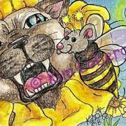 Art: Siamese Sunflower & Bumble Mouse-'Hello There!' by Artist Kim Loberg