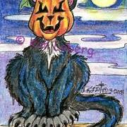 Art: Halloween Cat by Artist Kim Loberg