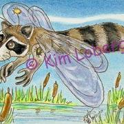 Art: Raccoon Dragon Fly SOLD by Artist Kim Loberg